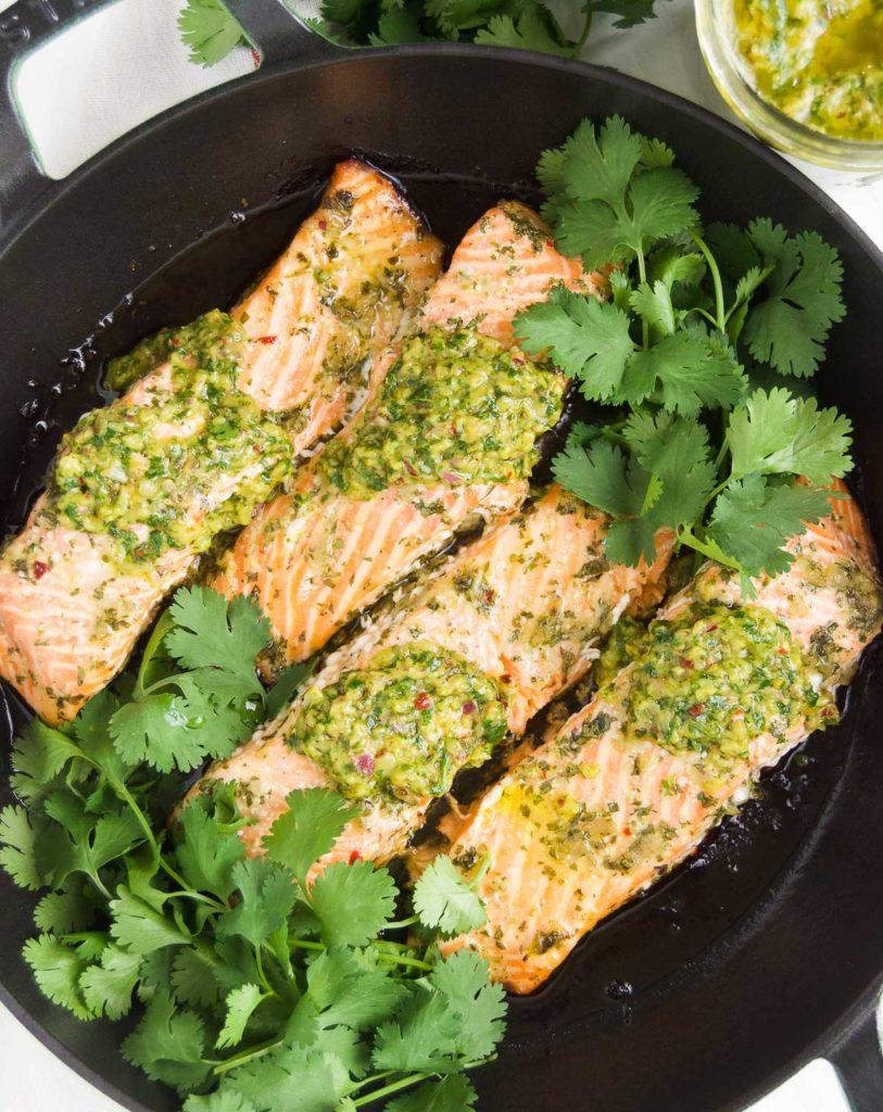 Baked Chimichurri Salmon