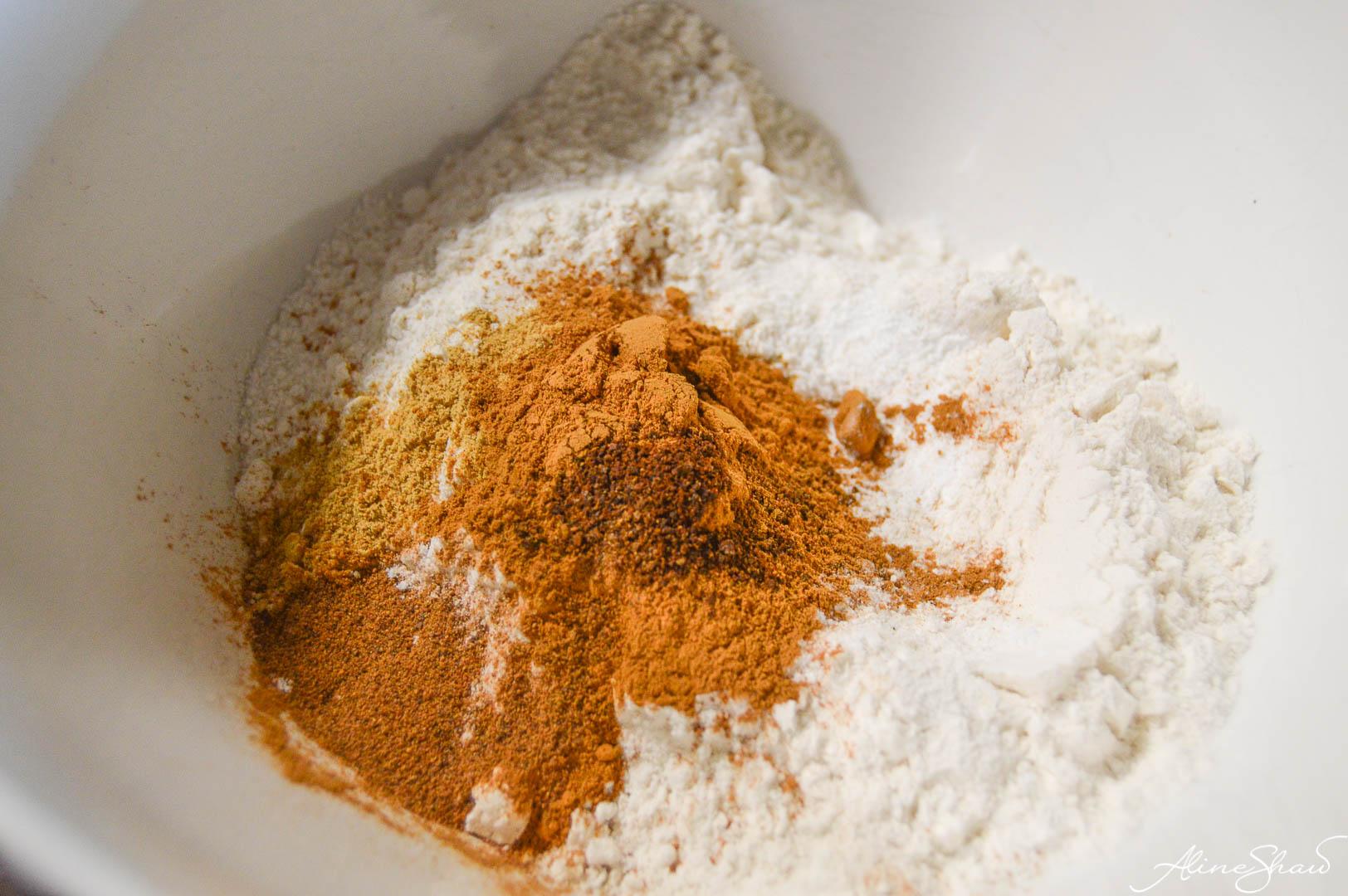Spiced Brown Sugar Cake prep