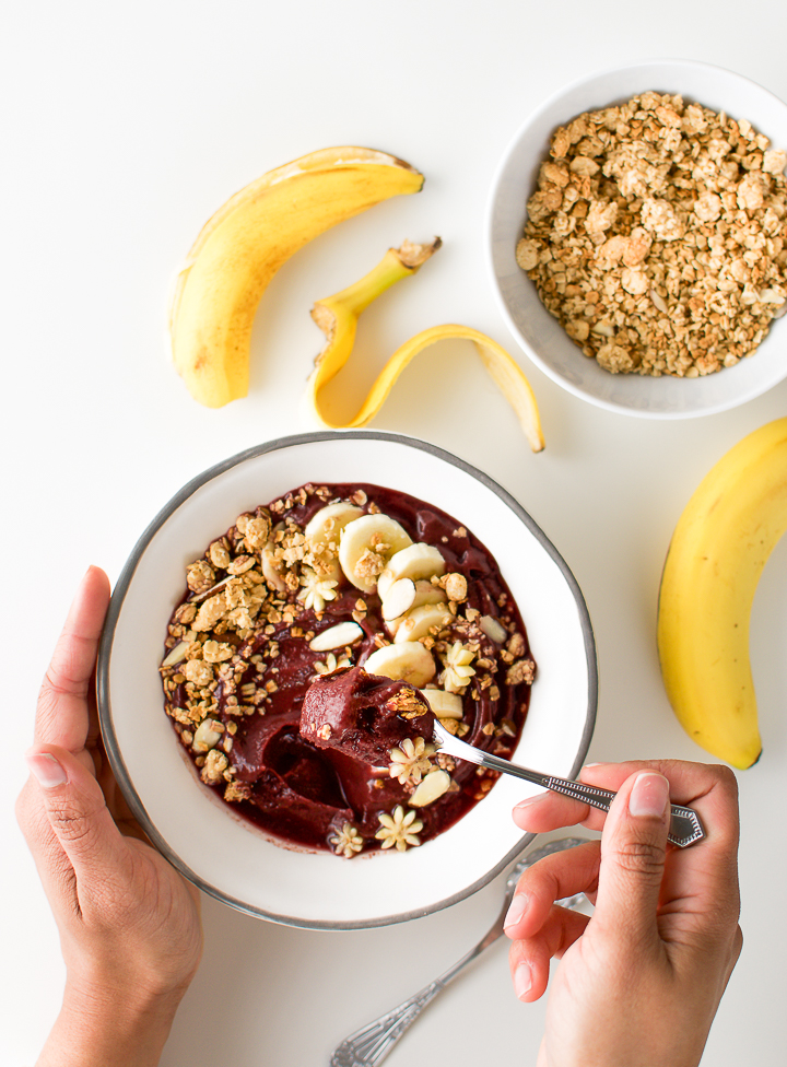 Brazilian acai bowl with bananas and granola