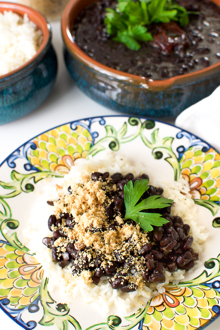Brazilian vegan black beans with rice and Farofa.