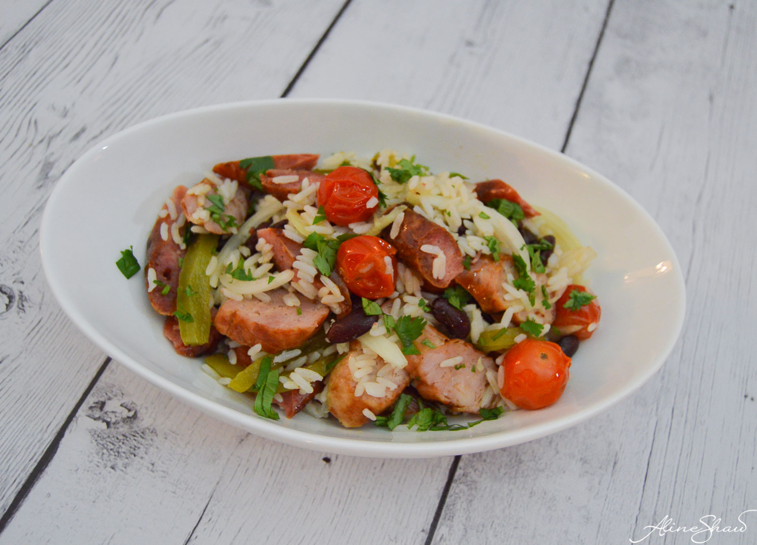 warm salad and brazilian sausages