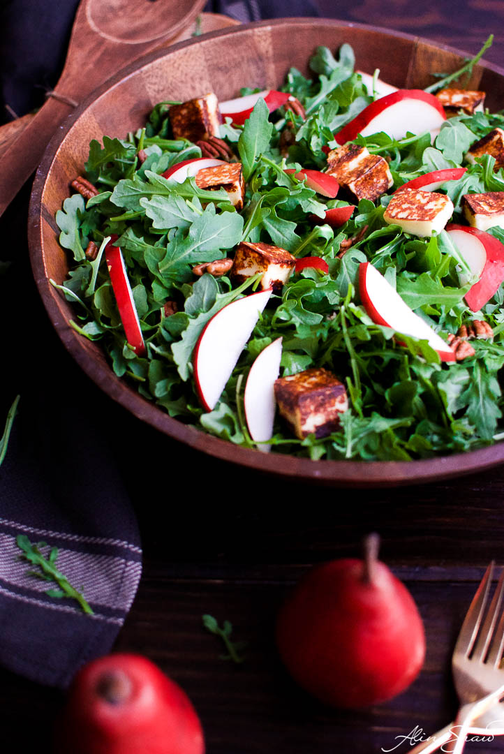 Pear Salad Recipe with Port Wine Dressing and Grilled Cheese