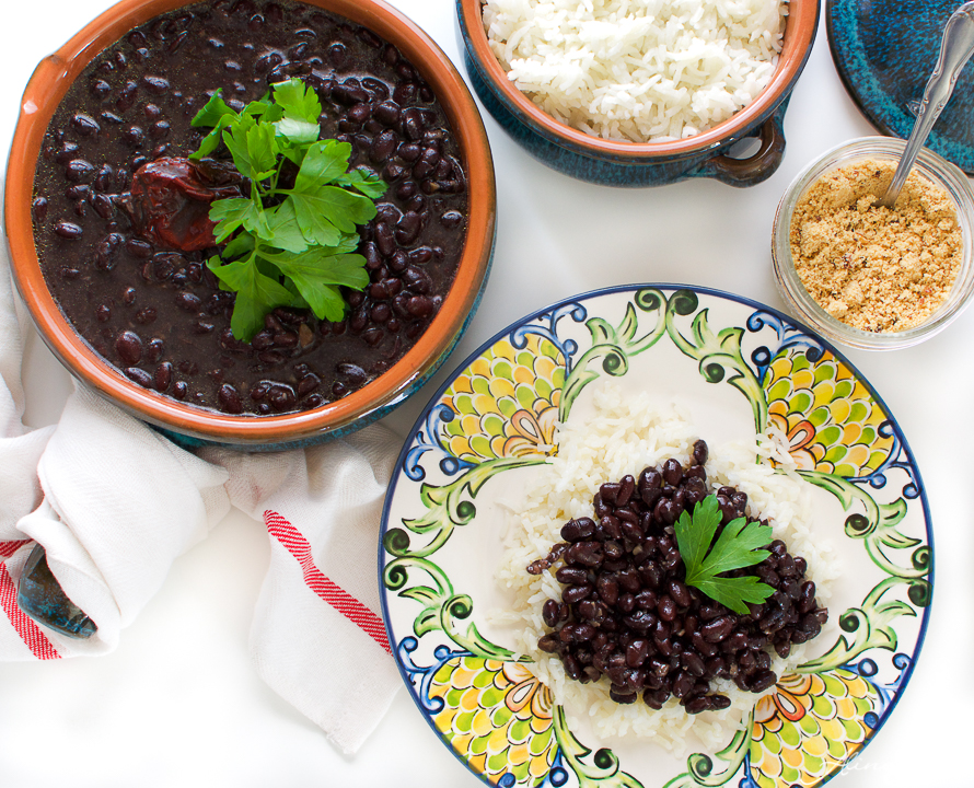 Brazilian vegan black beans with rice
