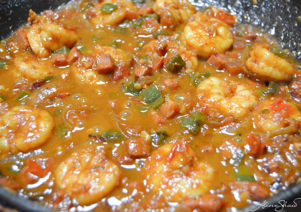 skillet shrimp in a sauce