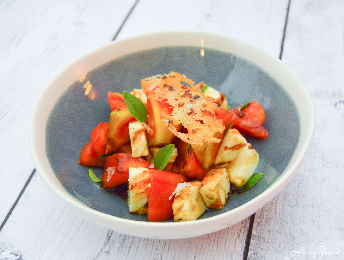 Tomato Salad with Grilled Coalho Cheese and Garlic Croutons