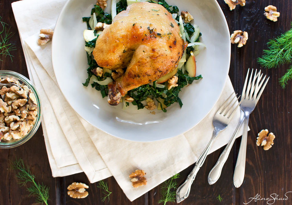 warm kale salad recipe with apples and chicken