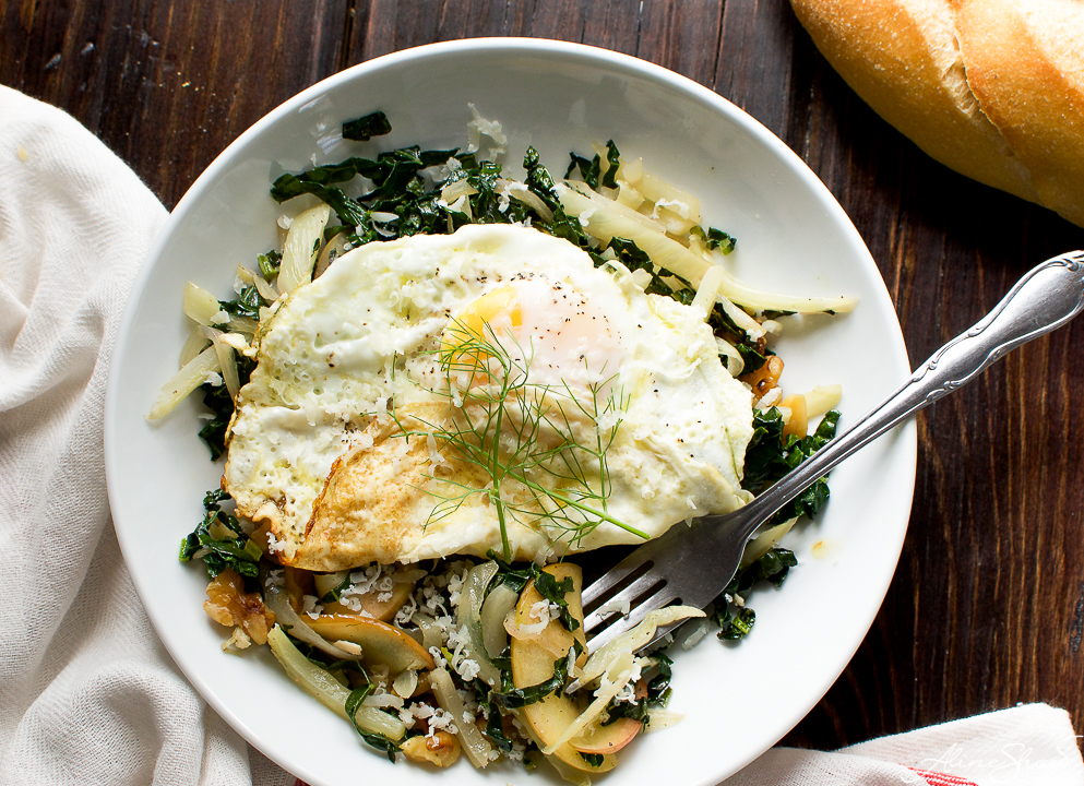 warm kale salad recipe with apples and egg