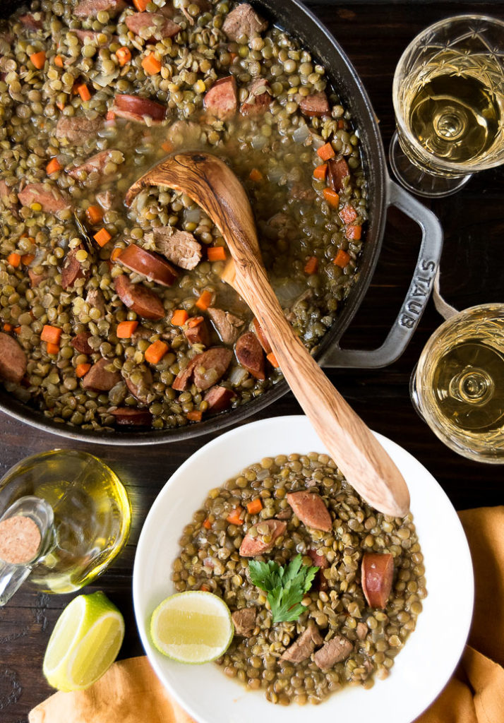 Pork lentil stew - Lentil Stew with Sausage and pork tenderloin served with olive oil and lime