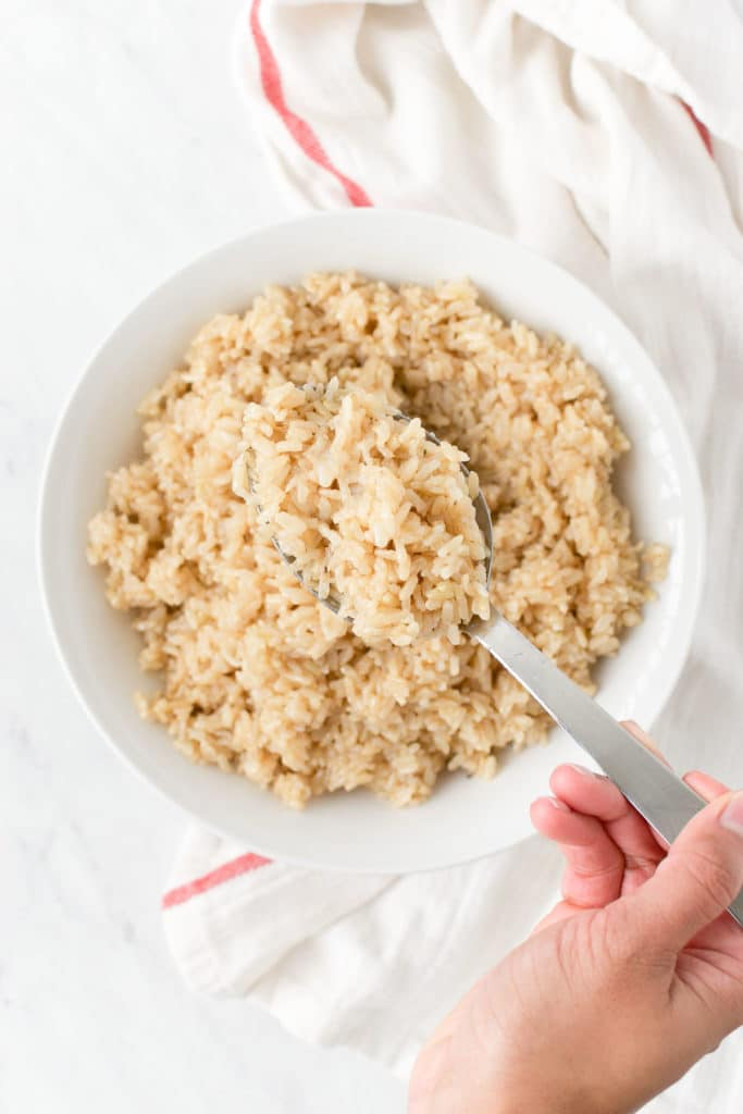 A spoon full of instant pot brown rice
