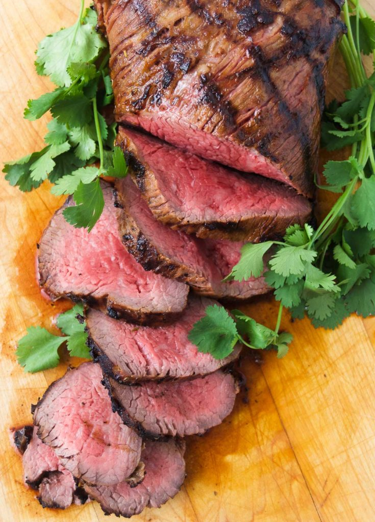 A grilled tri tip, sliced.