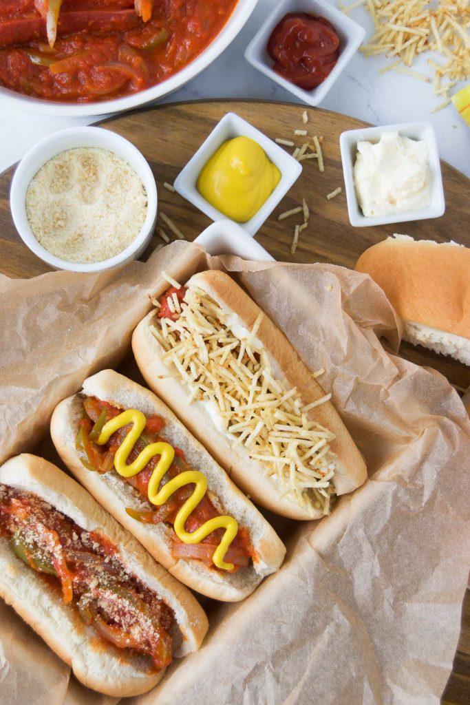 Brazilian Hot Dogs served three ways