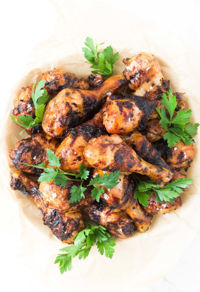 A bowl full of Beer Marinated Grilled Drumsticks
