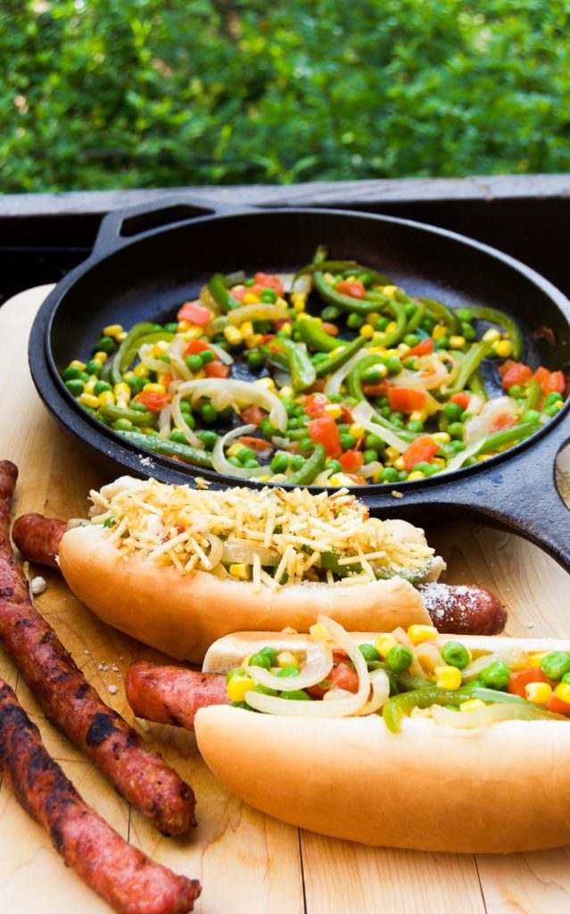 Street hot dogs loaded with tons of toppings