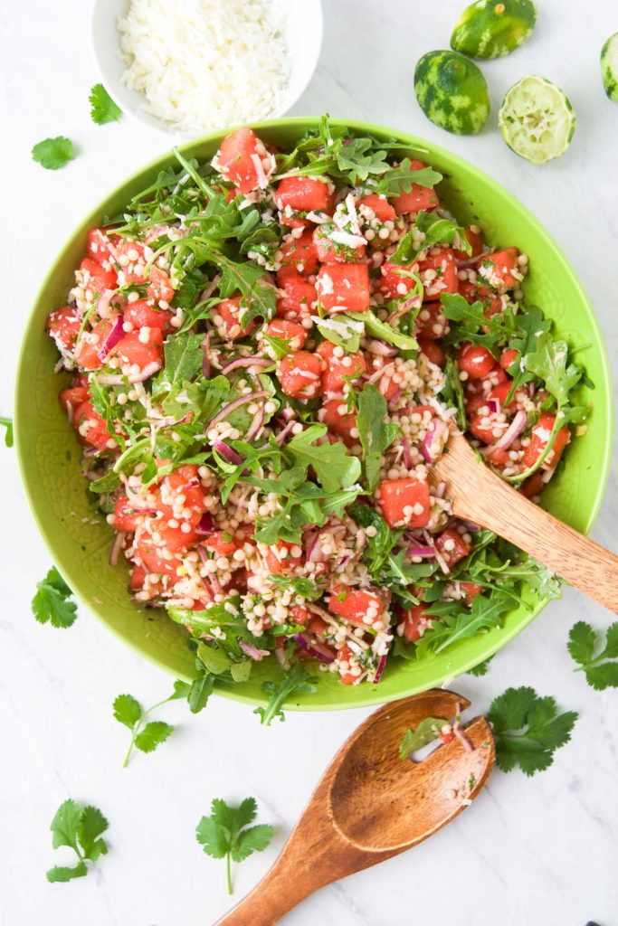 Watermelon Salad Recipe with Cilantro Honey Lime  Dressing in a bowl