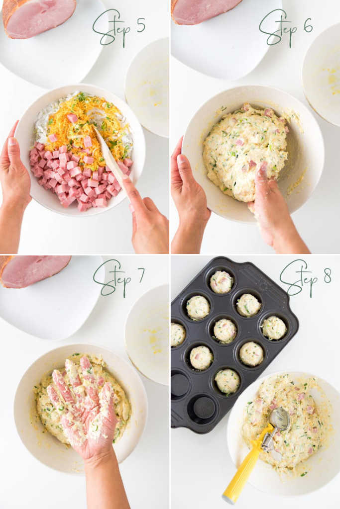 A collage of four images showing how to stir and fold ingredients into savory muffin batter, as well as a woman's hand coated with the batter and the muffins scooped into a muffin tin