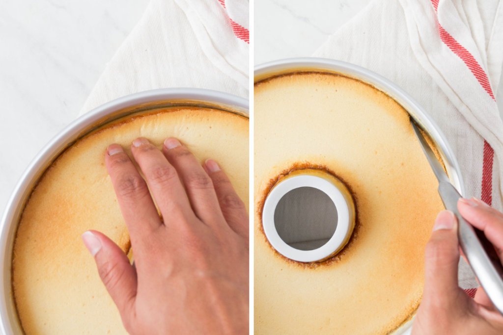 A collage of two images showing a woman's hand on top of a baked Brazilian flan and the flan in its bundt dish before unmolding