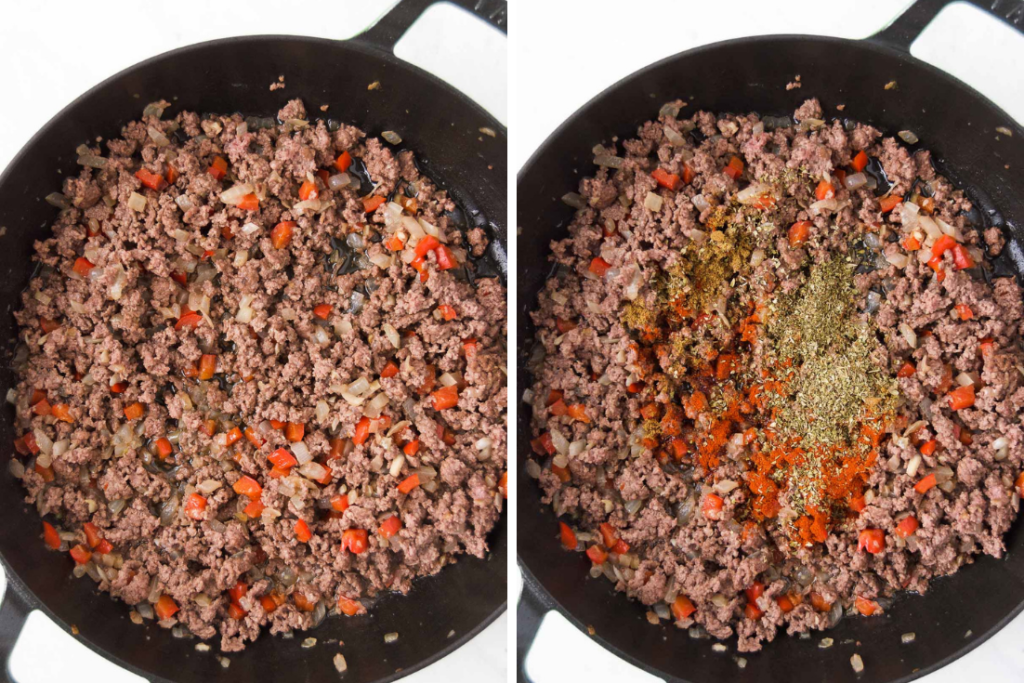 Collage of two images side by side showing ground beef with onions and peppers in a braising pan to the right and the same ingredients with spices on the right