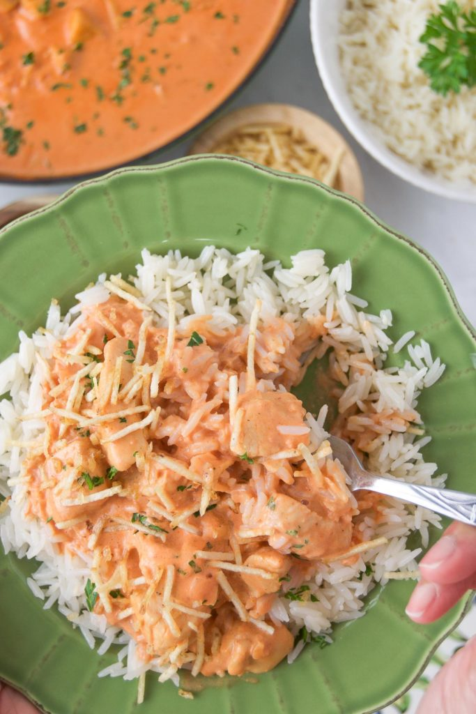 Close up of a fork scooping into chicken stroganoff over rice