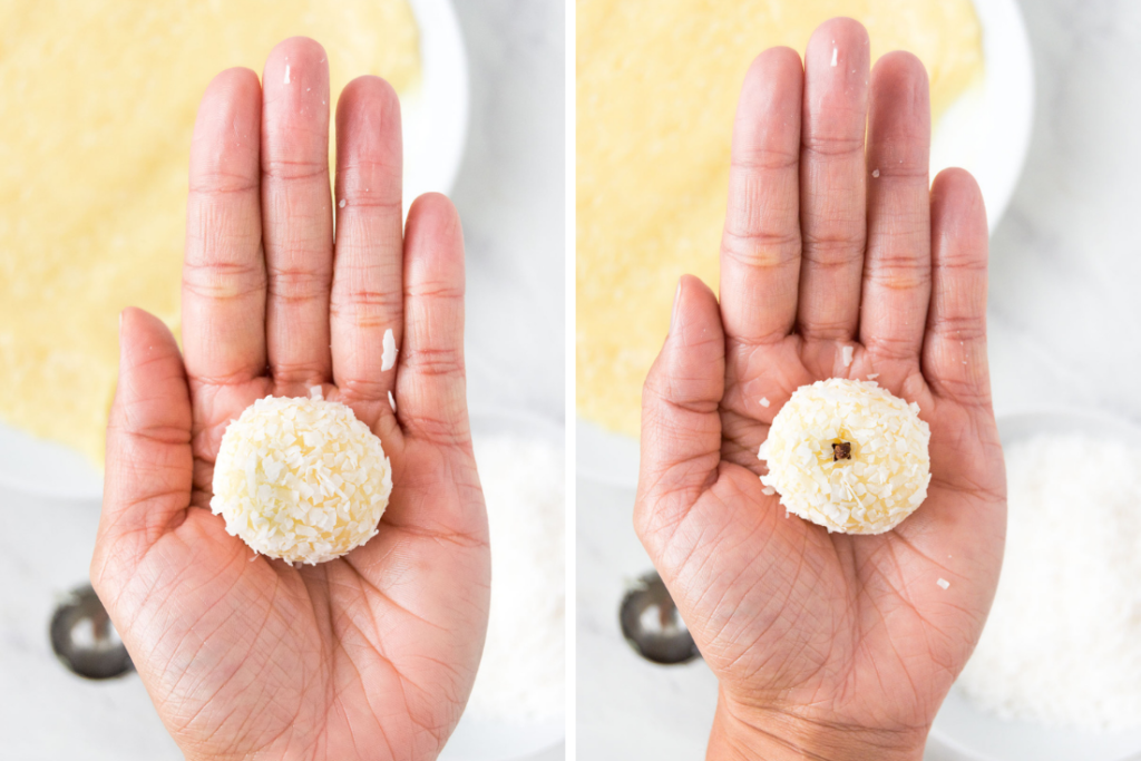 A collage of two images shows a coconut fudge ball in the palm of a person's hand to the left and the same fudge ball in the palm of a hand with a whole clove in it as decoration