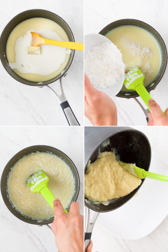 A collage of four images showing how to make Beijinho de coco recipe by adding ingredients to a saucepan, adding coconut, stirring and then pouring the ingredients into a bowl