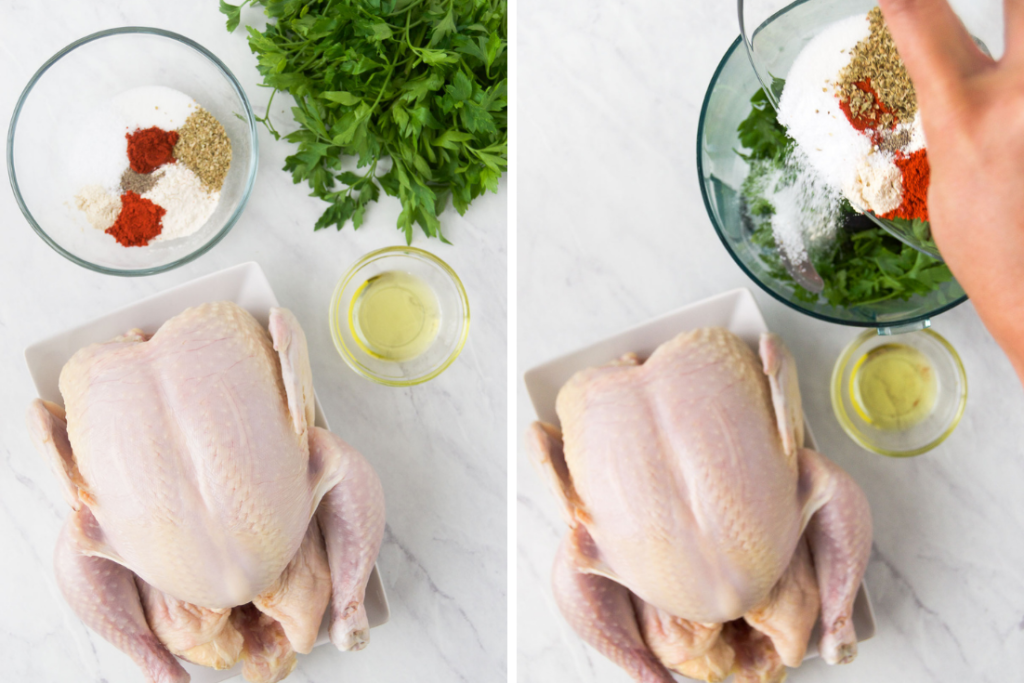 Collage of two images showing a raw whole chicken sitting next to a bowl with mixed spices and another image of the same chicken sitting next to the spice bowl with fresh parsley being poured in