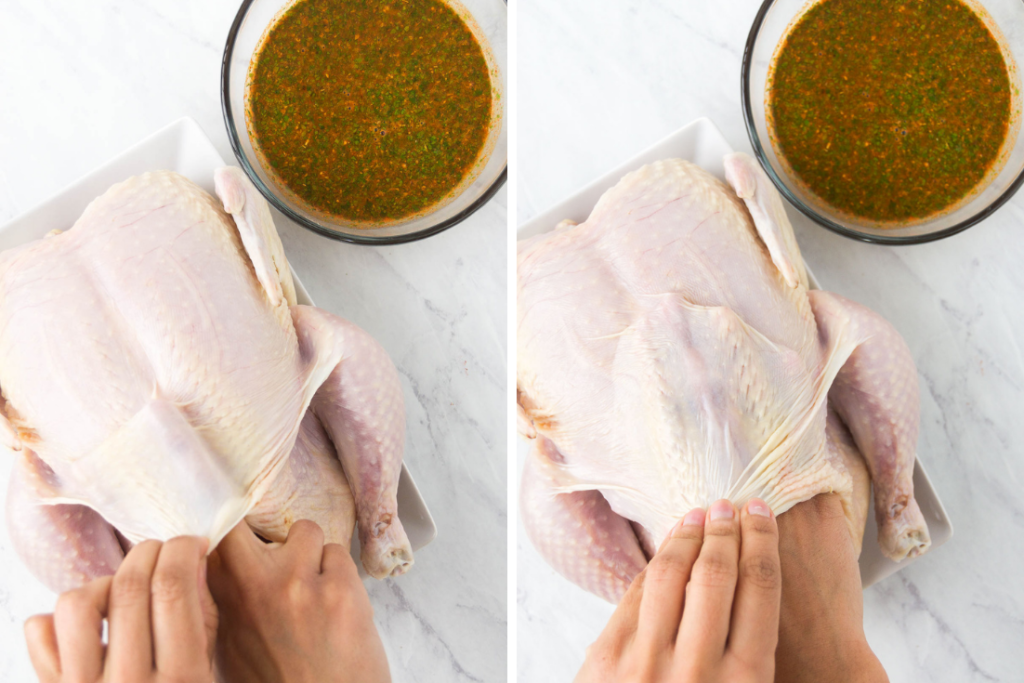 A collage of two images showing how to pull a chicken's skin from the meat with your hands to insert salt and a rotisserie chicken marinade