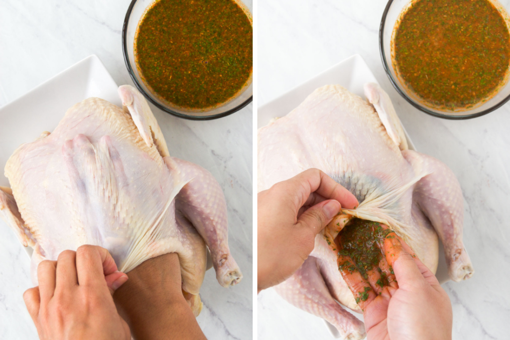 A collage of two images showing how to insert rotisserie chicken marinade beneath the skin of a raw whole chicken using your hands