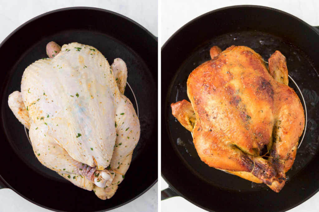 A collage of two images showing a raw Rotisserie-Style Brazilian Chicken before baking and the same chicken after baking in a cast iron baking pan