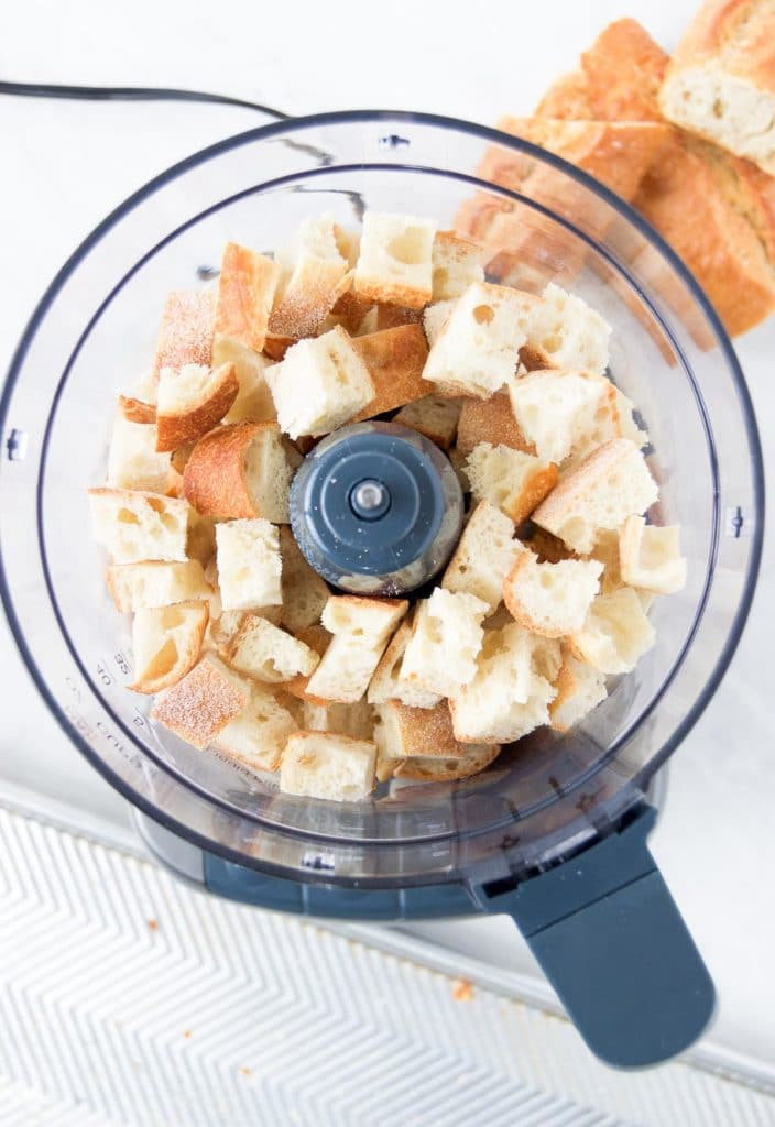 Bread chunks in a food processor from above