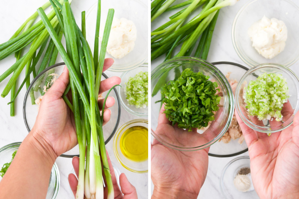 Collage showing green onions before and after chopping