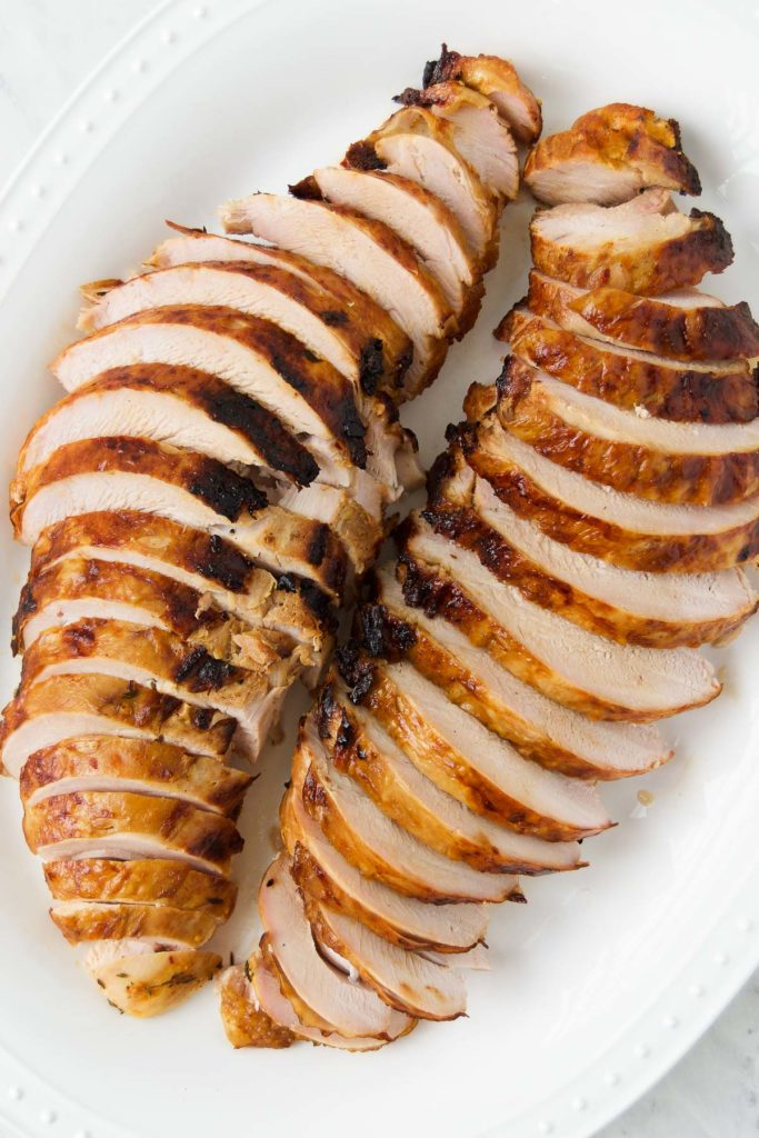 Sliced turkey breast on a white plate