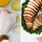 Collage showing grilled turkey breast ingredients and the final grilled meat