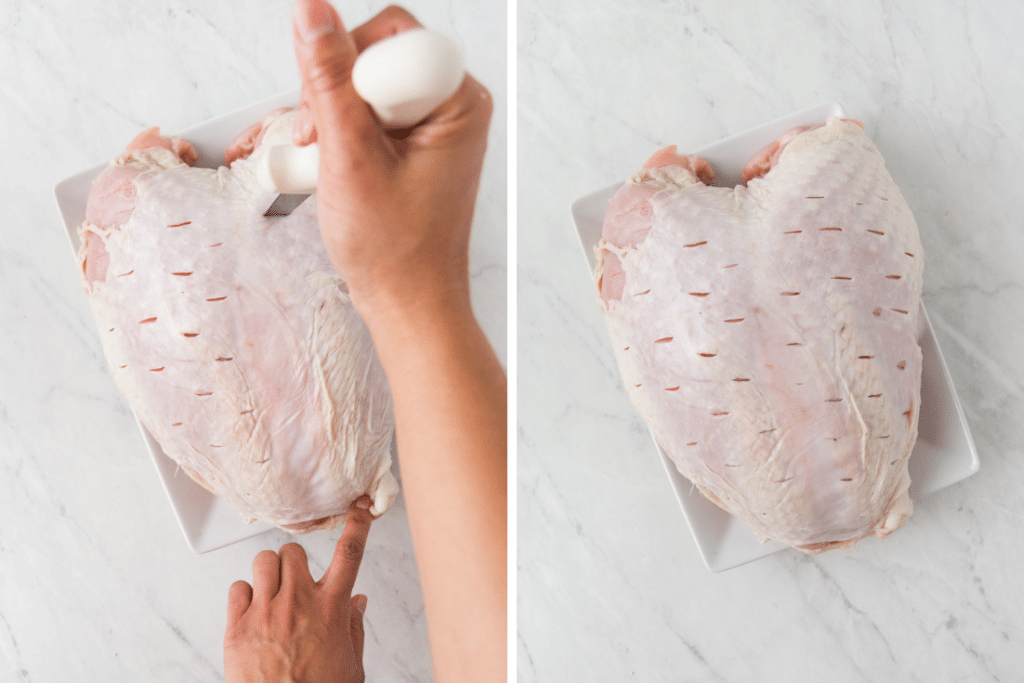 Collage showing how to prepare a bone-in turkey breast