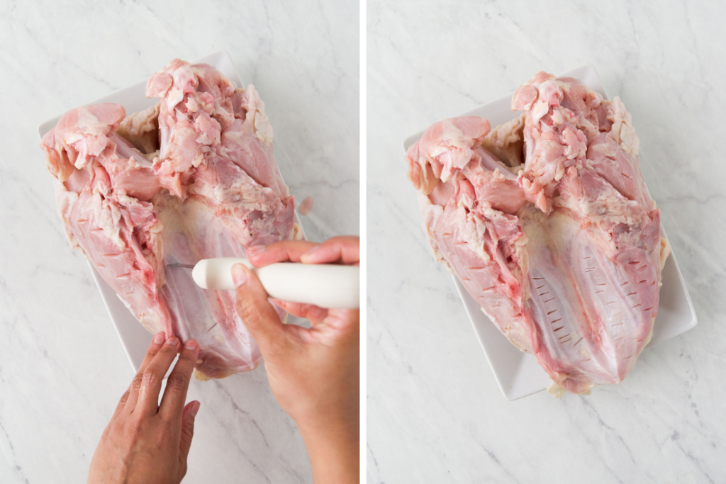 Collage showing how to prepare the backside of a bone-in turkey breast
