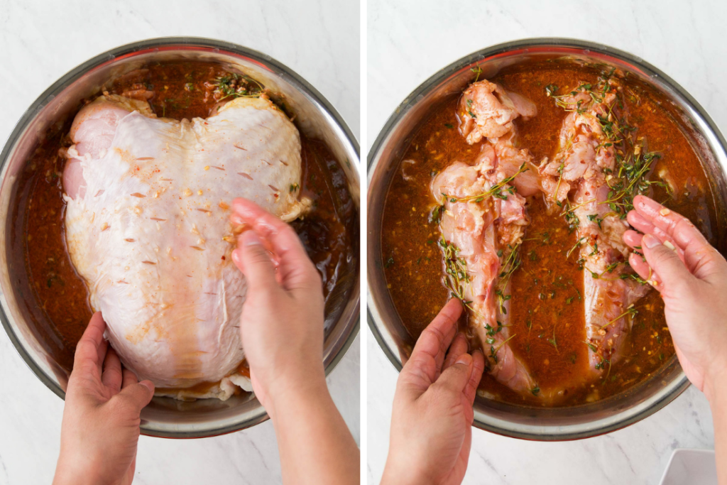 Collage showing how to massage a turkey breast in brine