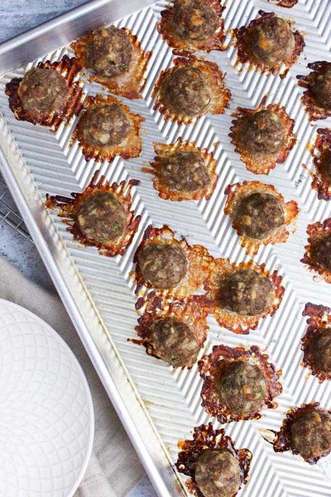 Meatballs on a sheet pan after baking